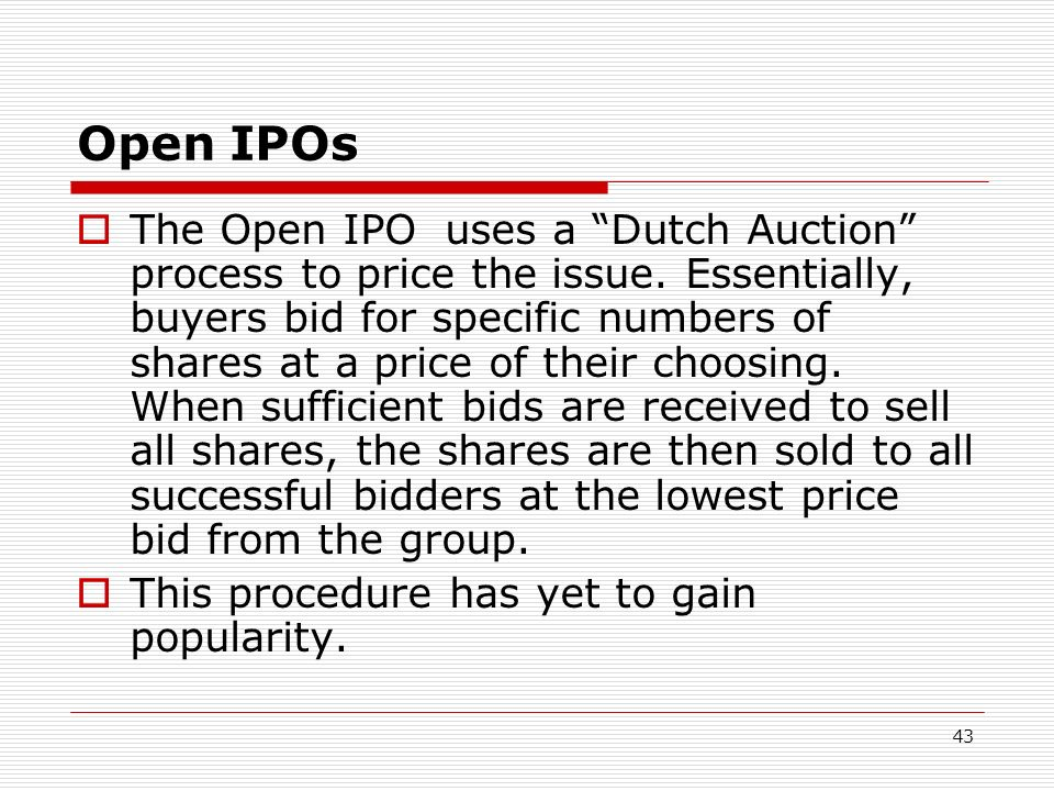 Open IPOs