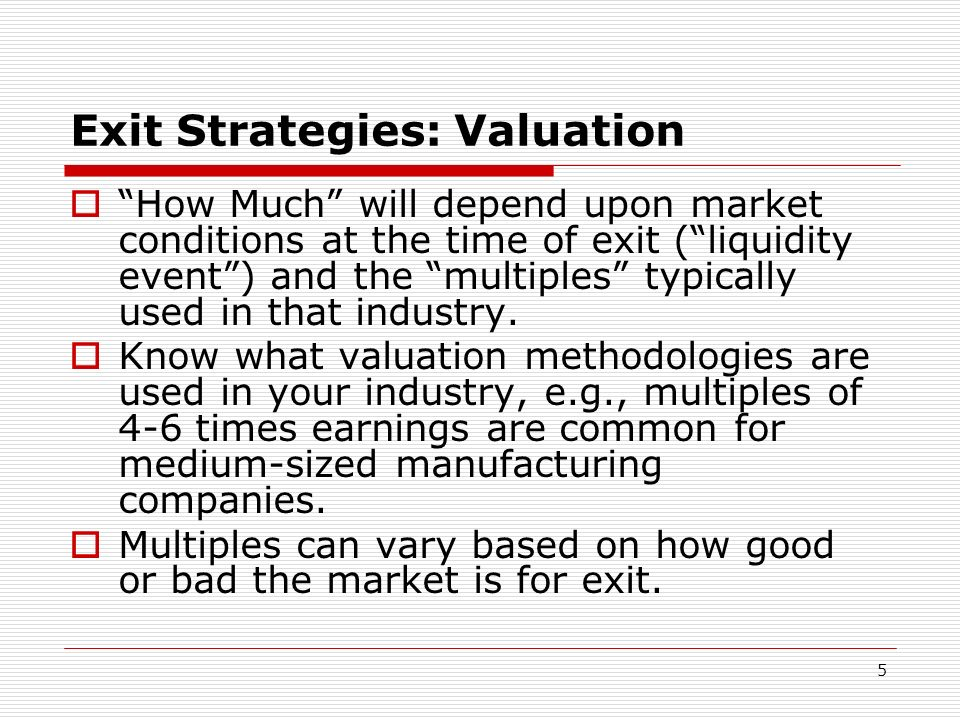 Exit Strategies: Valuation