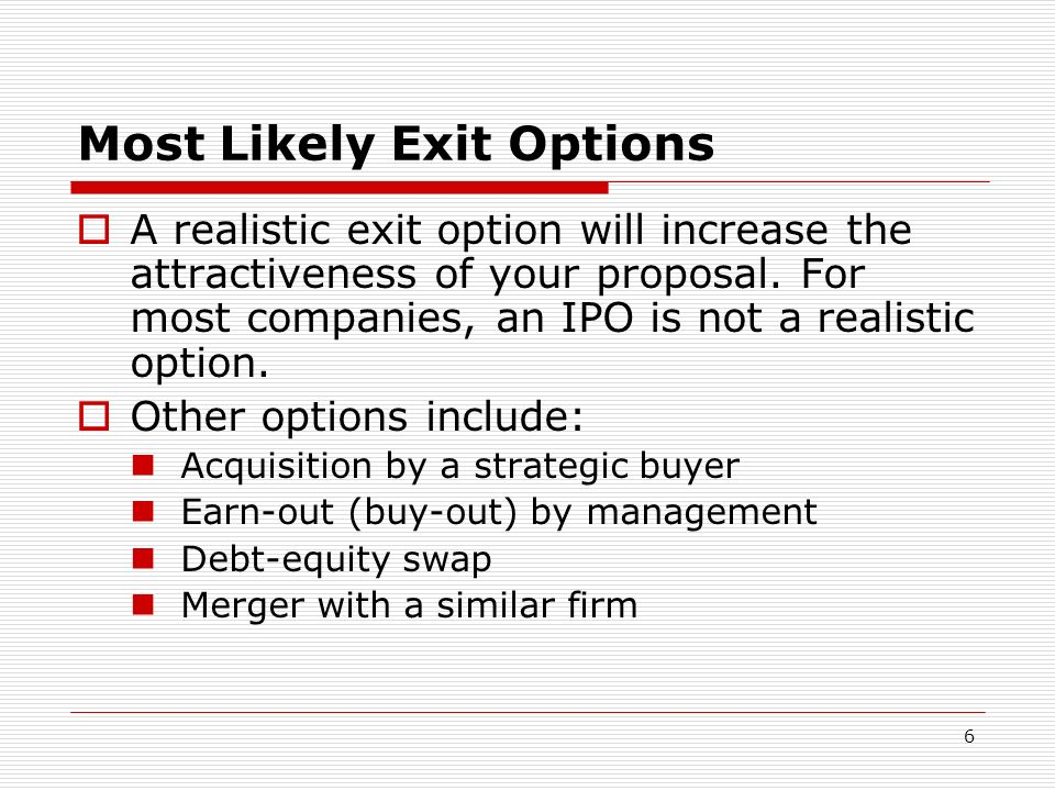 Most Likely Exit Options