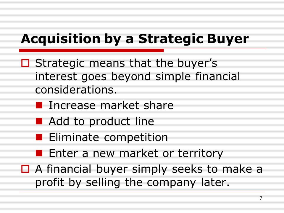 Acquisition by a Strategic Buyer