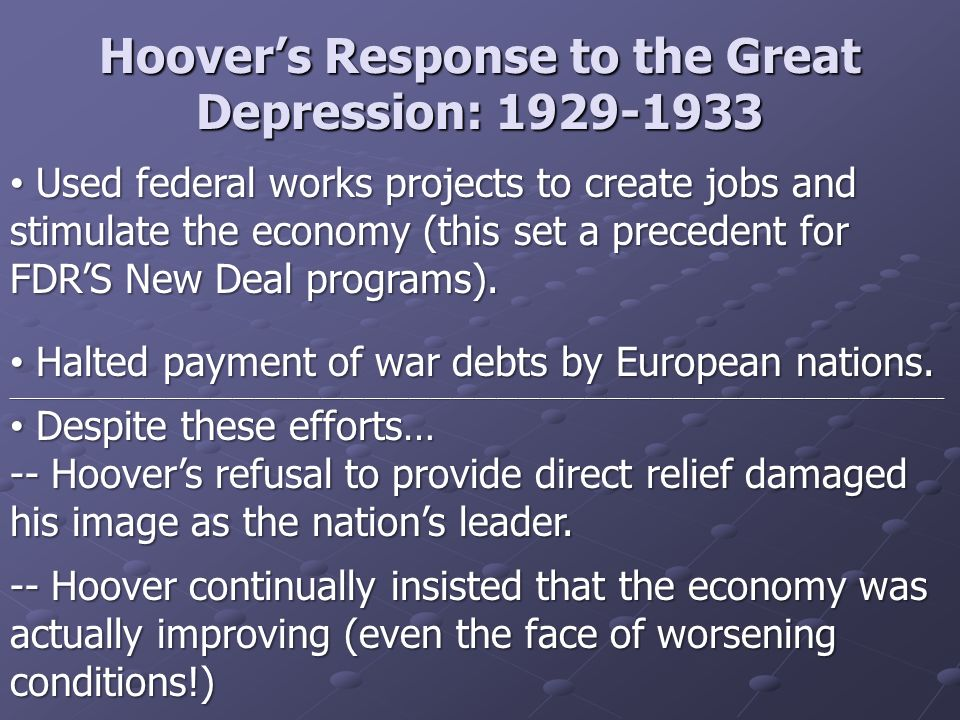 hoover and roosevelt s response to the 2018-8-12 roosevelt's calm and collected response to the event reassured many americans of his ability to lead the nation through the challenges  hoover's.