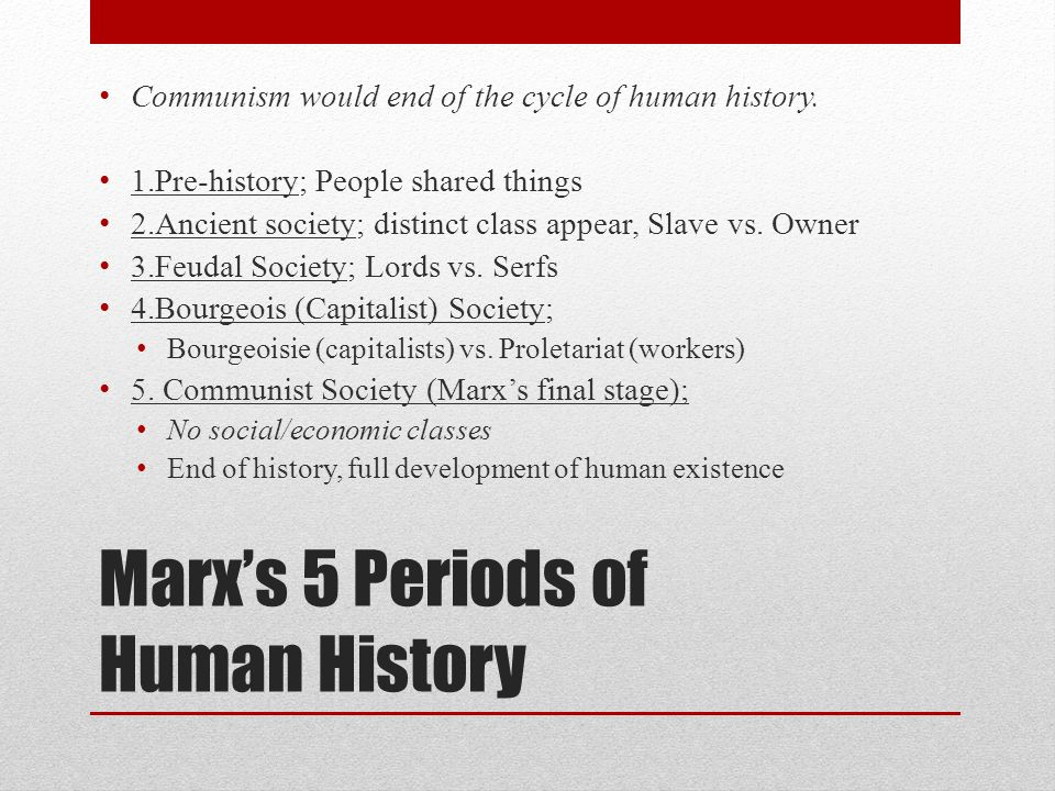 Marx's 5 Periods of Human History