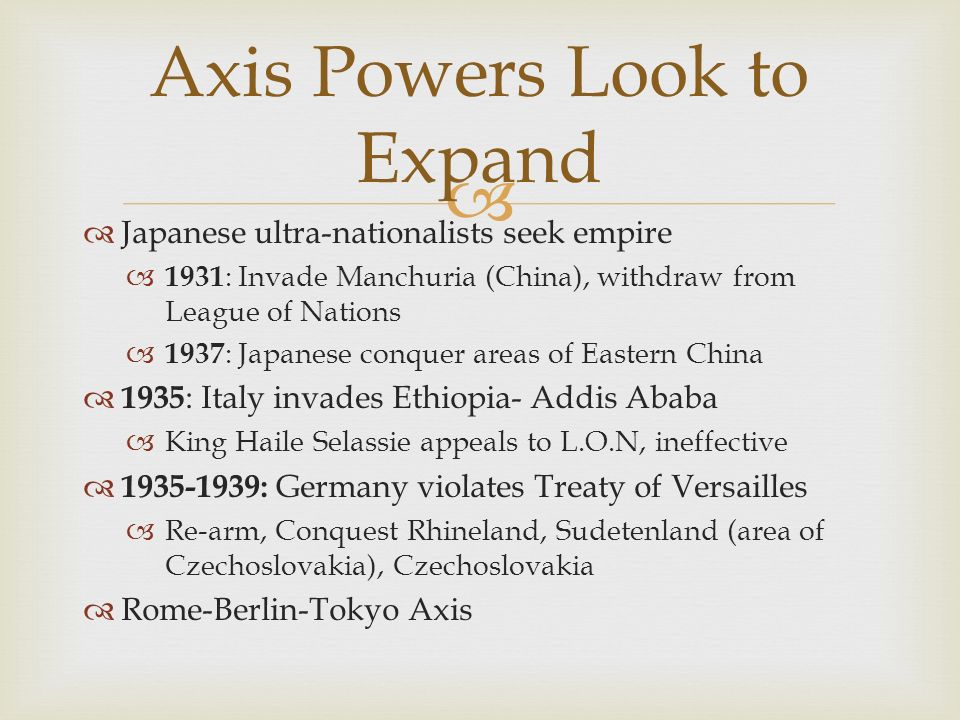 Axis Powers Look to Expand
