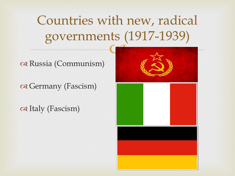 Countries with new, radical governments (1917-1939)