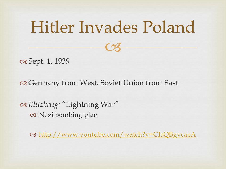 Hitler Invades Poland Sept. 1, 1939