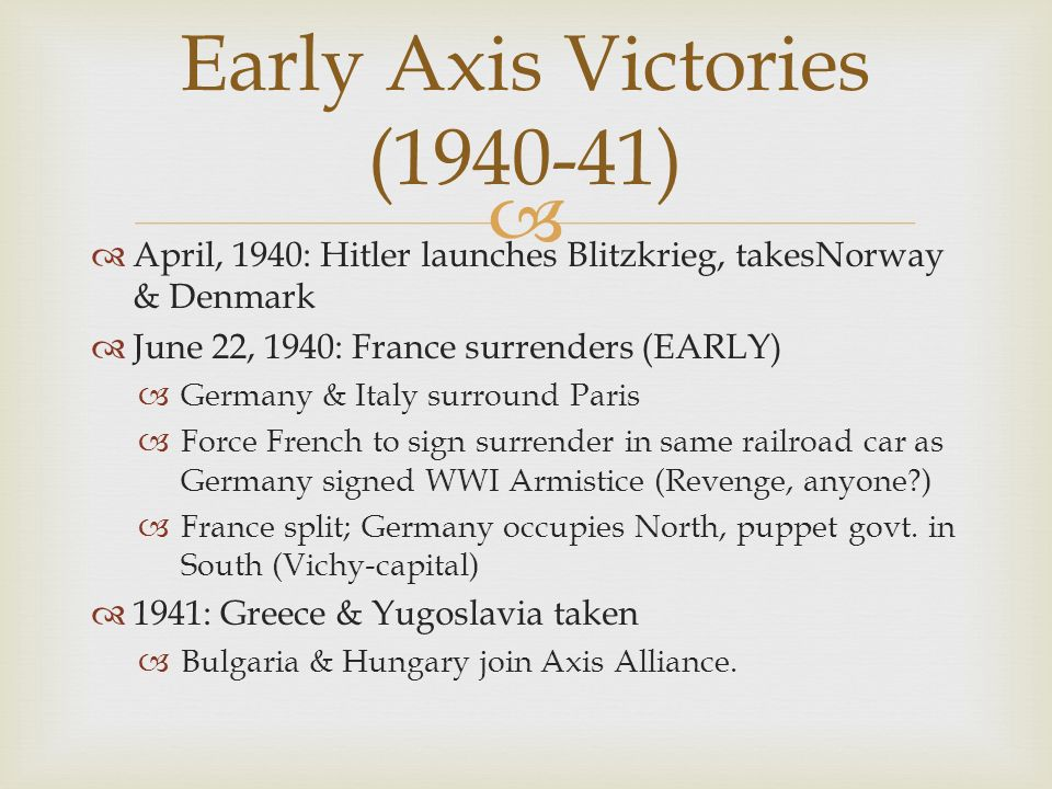Early Axis Victories (1940-41)