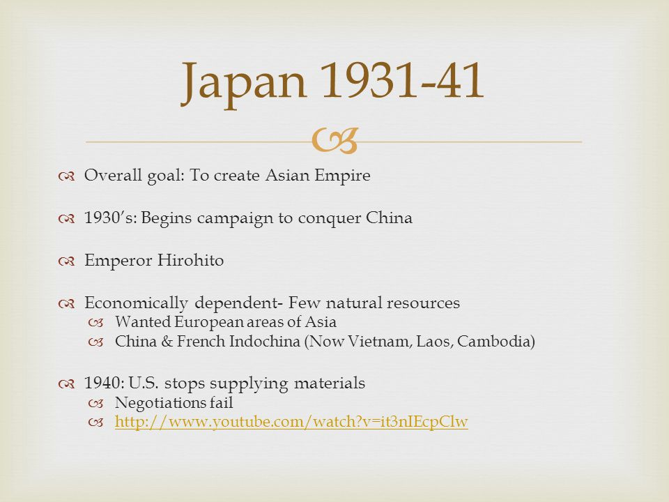 Japan 1931-41 Overall goal: To create Asian Empire
