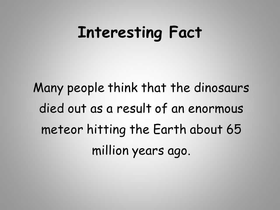 Interesting Fact Many people think that the dinosaurs died out as a result of an enormous meteor hitting the Earth about 65 million years ago.