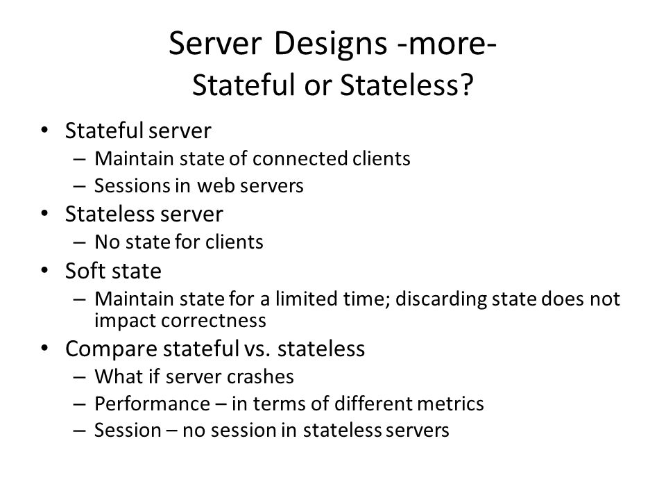 Stateless Web Application Designs