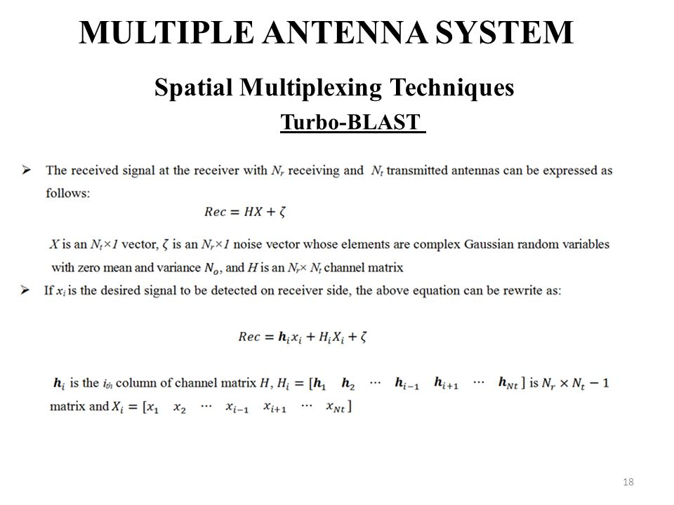 Multiple Antenna System Spatial Multiplexing Techniques