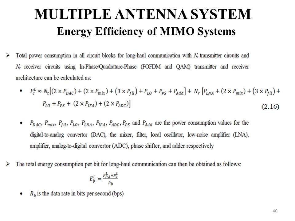 Multiple Antenna System Energy Efficiency of MIMO Systems