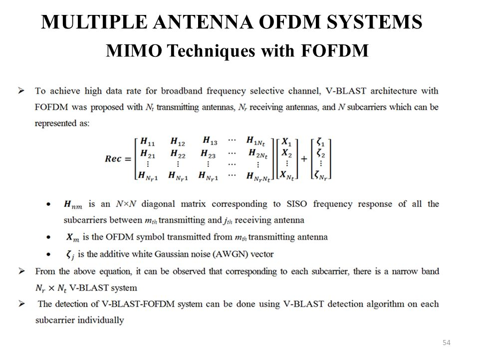 Multiple Antenna OFDM Systems MIMO Techniques with FOFDM