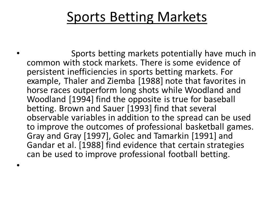 Sports Betting Markets