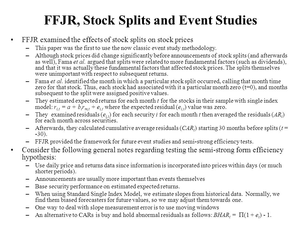 FFJR, Stock Splits and Event Studies