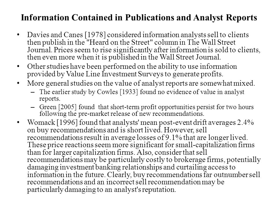 Information Contained in Publications and Analyst Reports