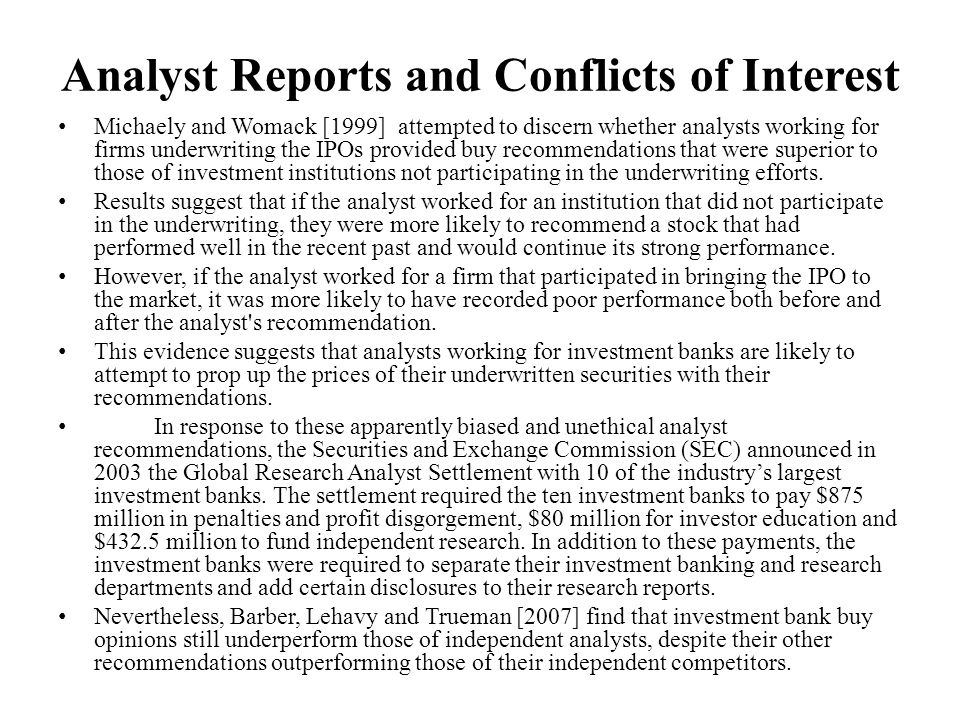 Analyst Reports and Conflicts of Interest