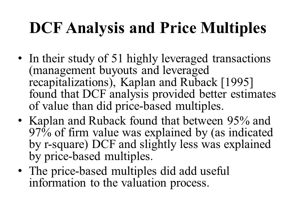 DCF Analysis and Price Multiples