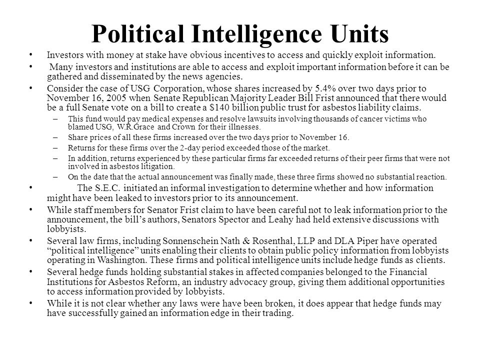 Political Intelligence Units