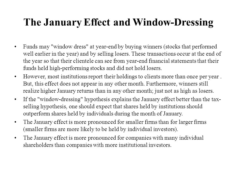 The January Effect and Window-Dressing
