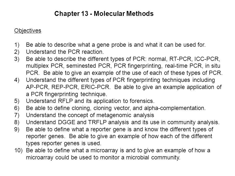Chapter 13 - Molecular Methods