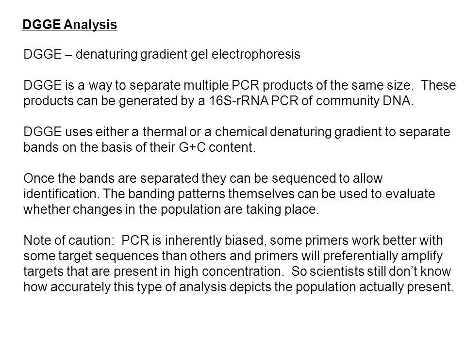 DGGE Analysis DGGE – denaturing gradient gel electrophoresis.