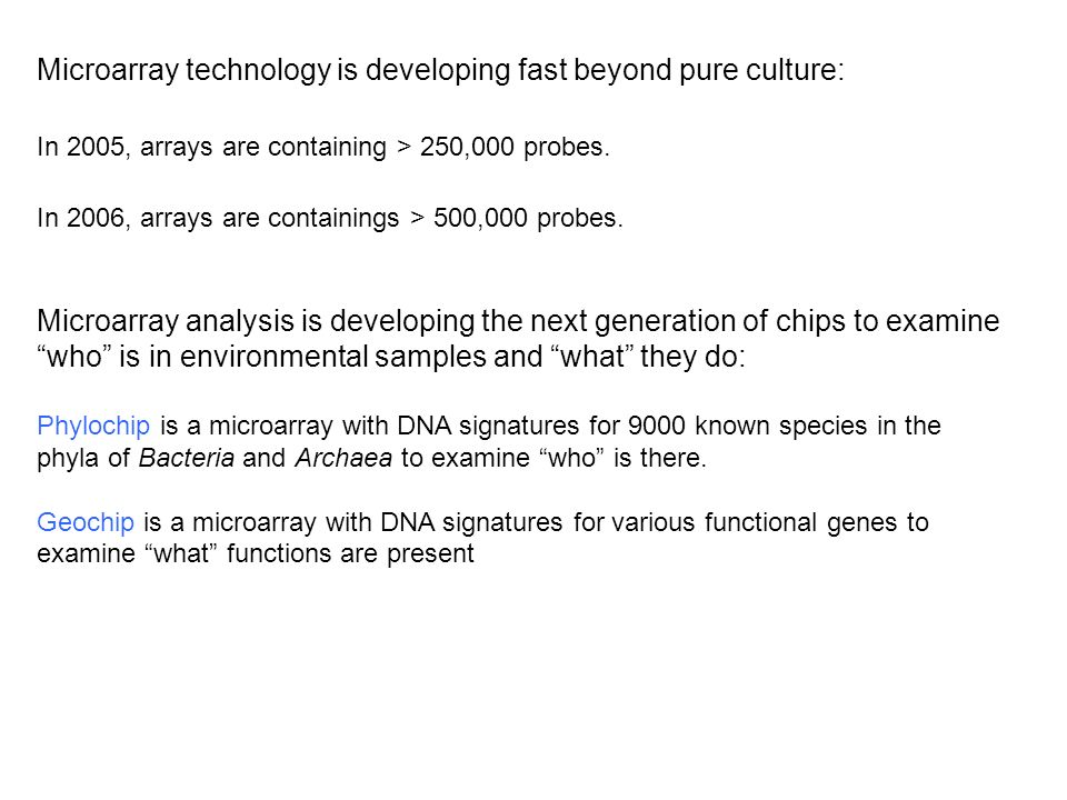 Microarray technology is developing fast beyond pure culture: