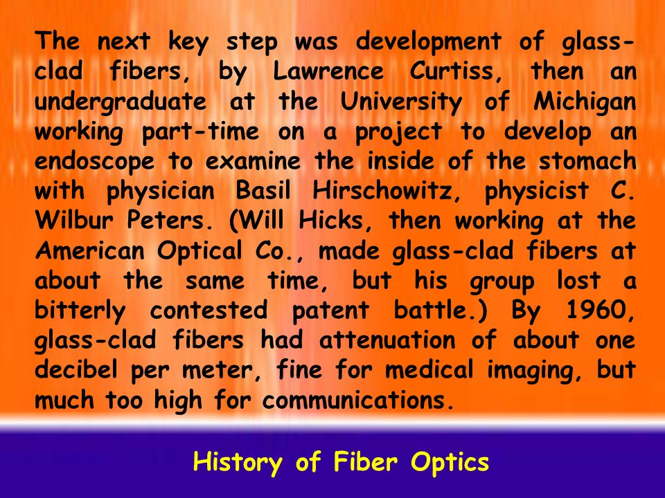 a history of fibre optics 2017-8-31  history edit in pursuit of invisibility edit camouflage has, in one form or another,  until they had perfected fibre optic technology fibre optics today edit.
