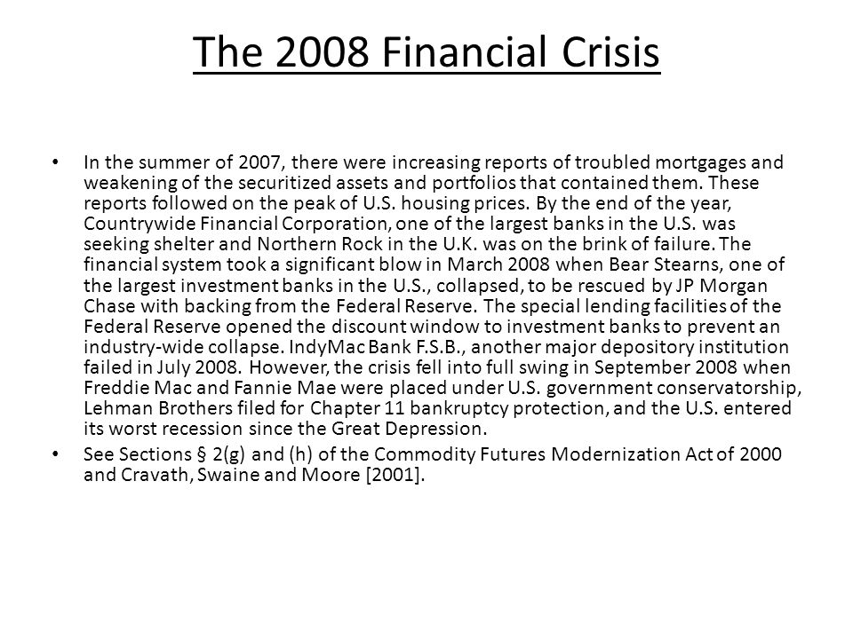 The 2008 Financial Crisis