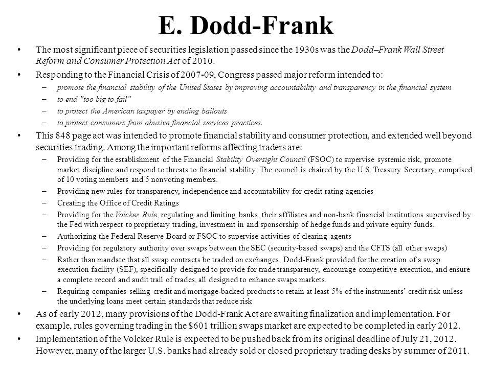 E. Dodd-Frank