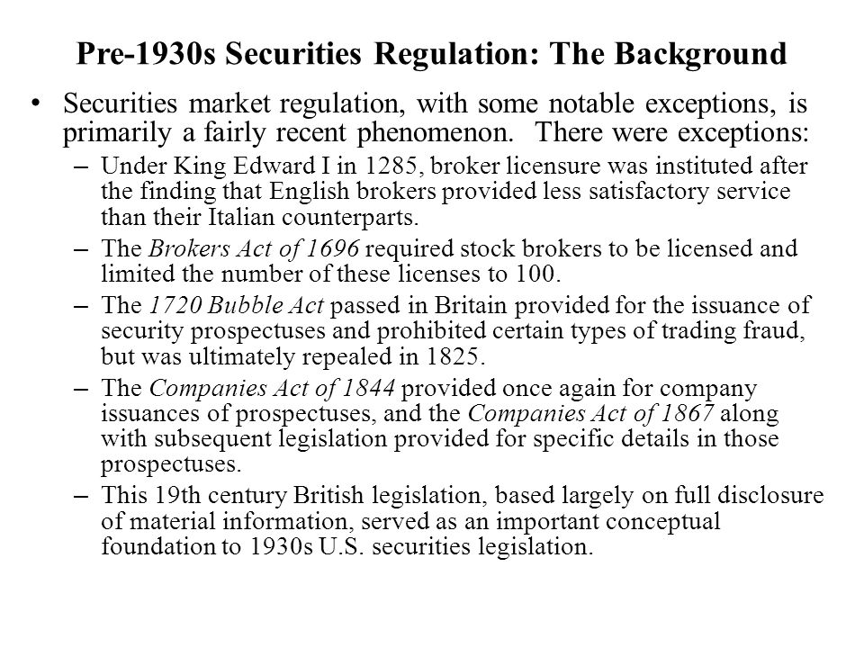 Pre-1930s Securities Regulation: The Background