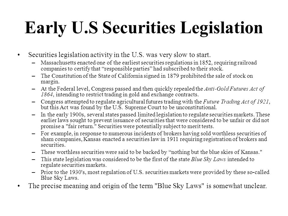 Early U.S Securities Legislation