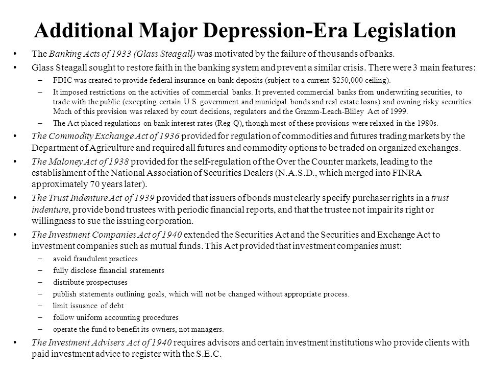 Additional Major Depression-Era Legislation
