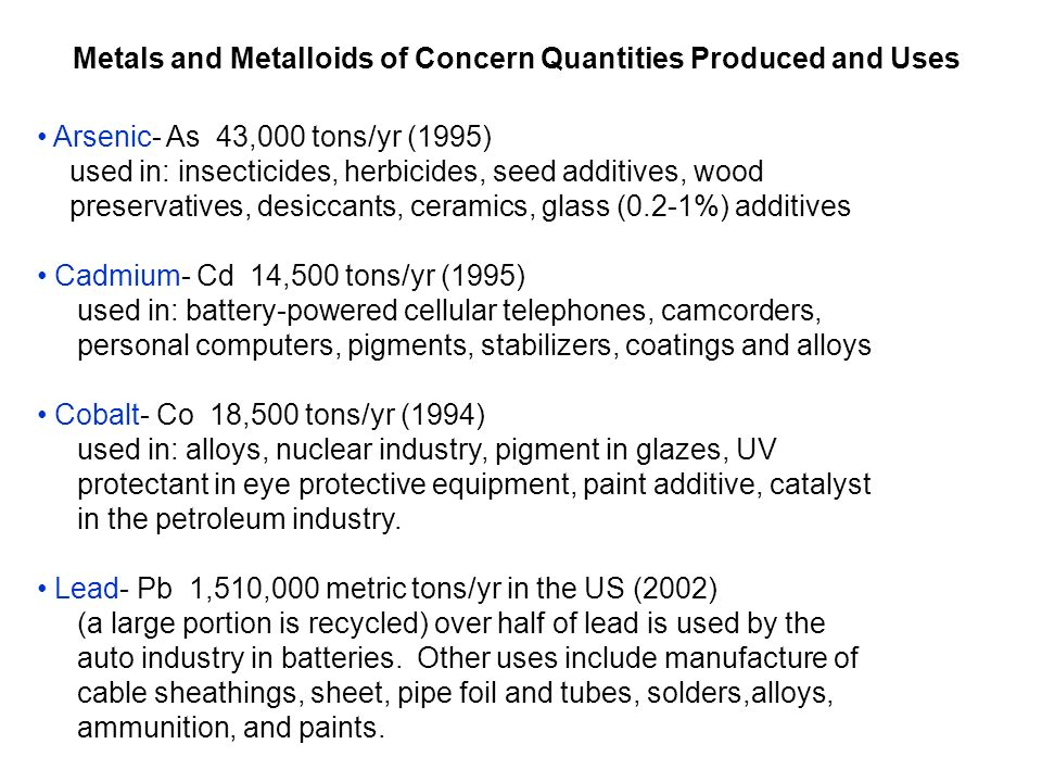 Metals and Metalloids of Concern Quantities Produced and Uses