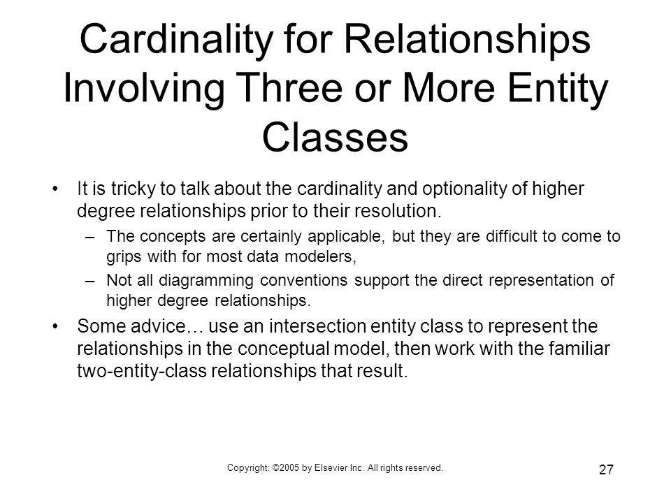 Cardinality for Relationships Involving Three or More Entity Classes