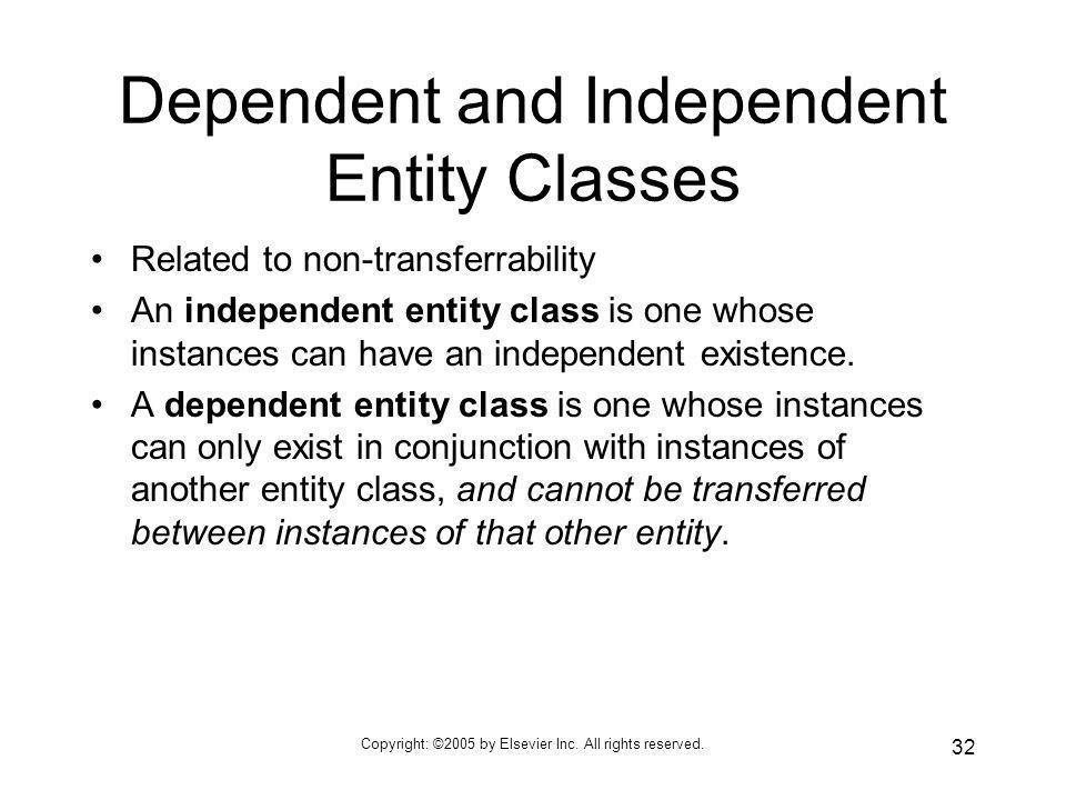 Dependent and Independent Entity Classes