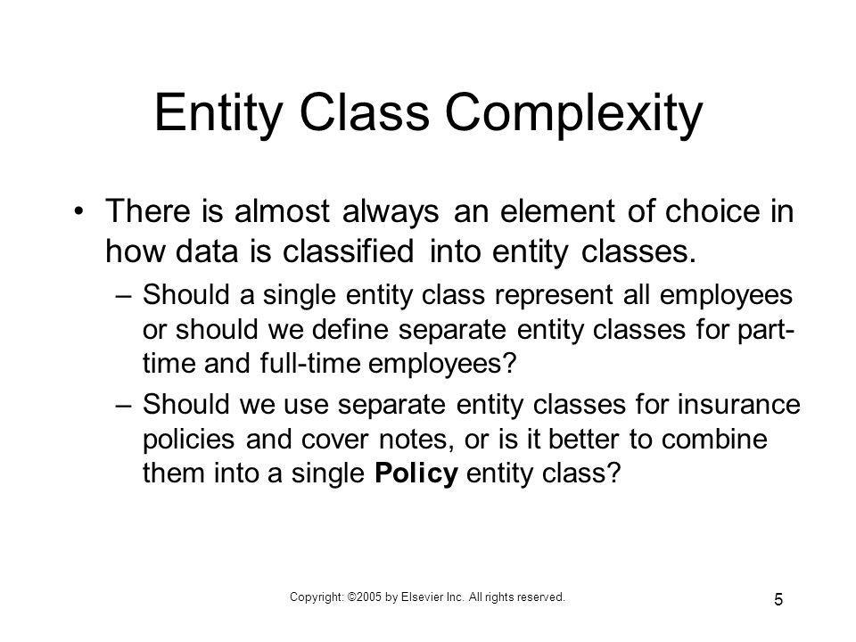 Entity Class Complexity