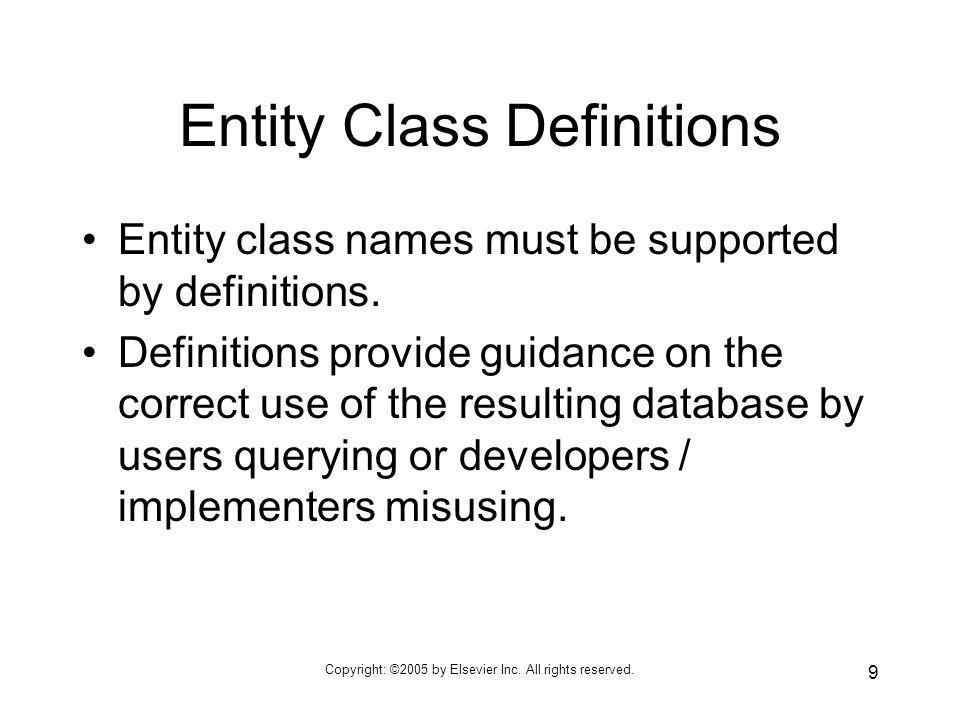 Entity Class Definitions