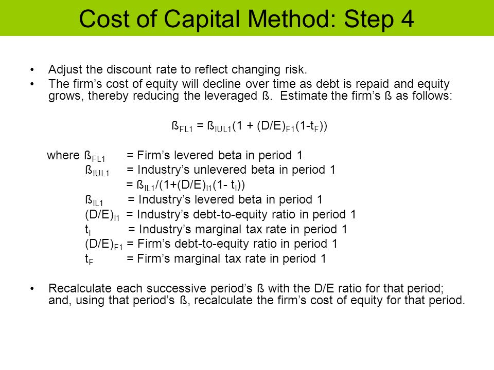 Cost of Capital Method: Step 4