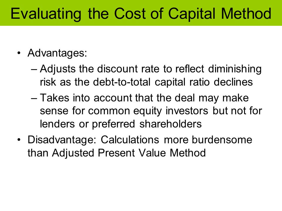 Evaluating the Cost of Capital Method