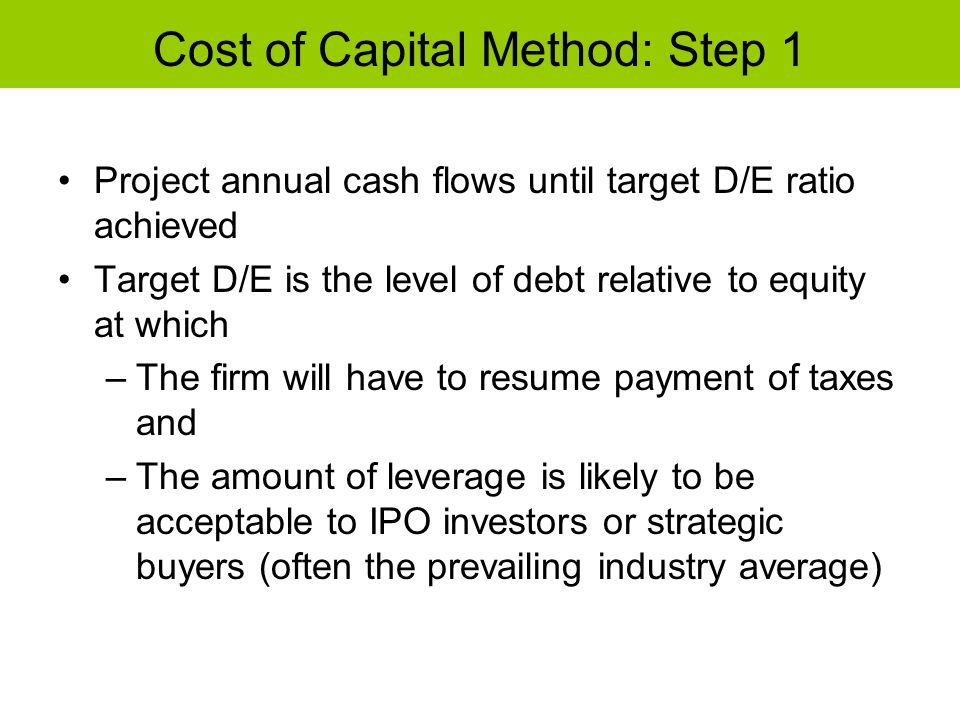 Cost of Capital Method: Step 1