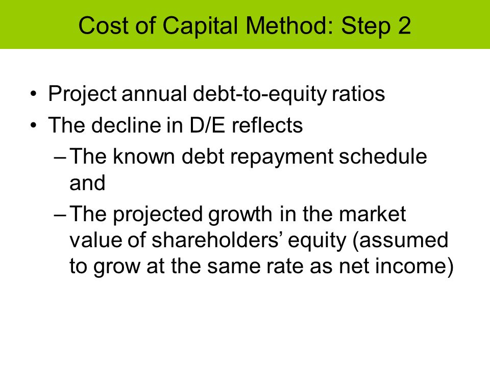 Cost of Capital Method: Step 2