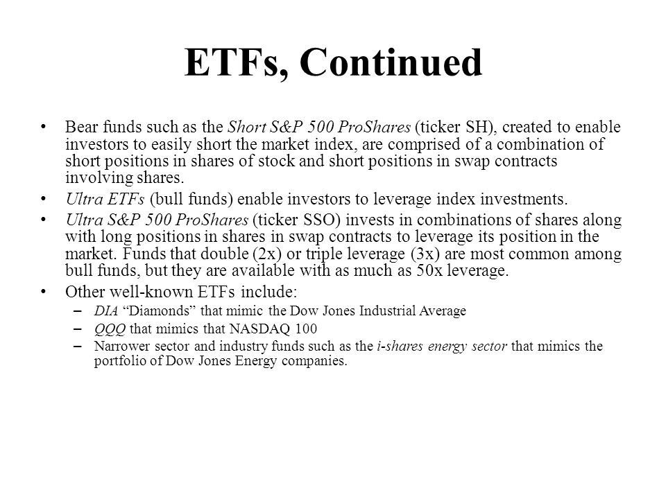 ETFs, Continued
