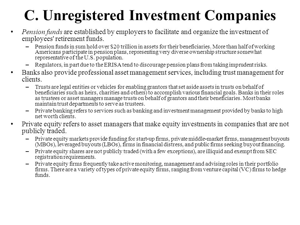 C. Unregistered Investment Companies