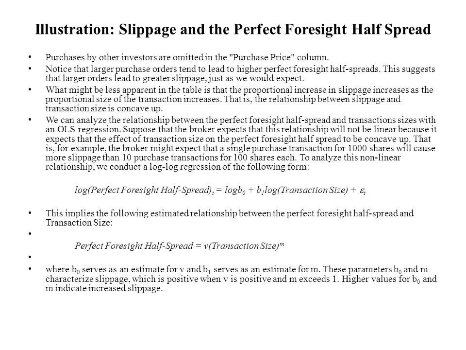 Illustration: Slippage and the Perfect Foresight Half Spread