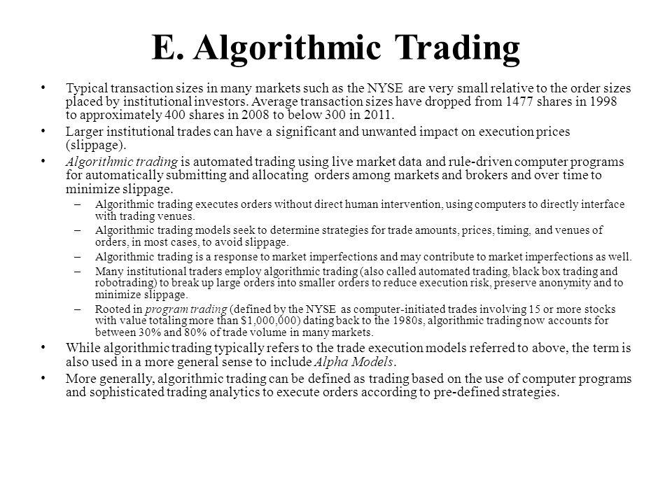 E. Algorithmic Trading