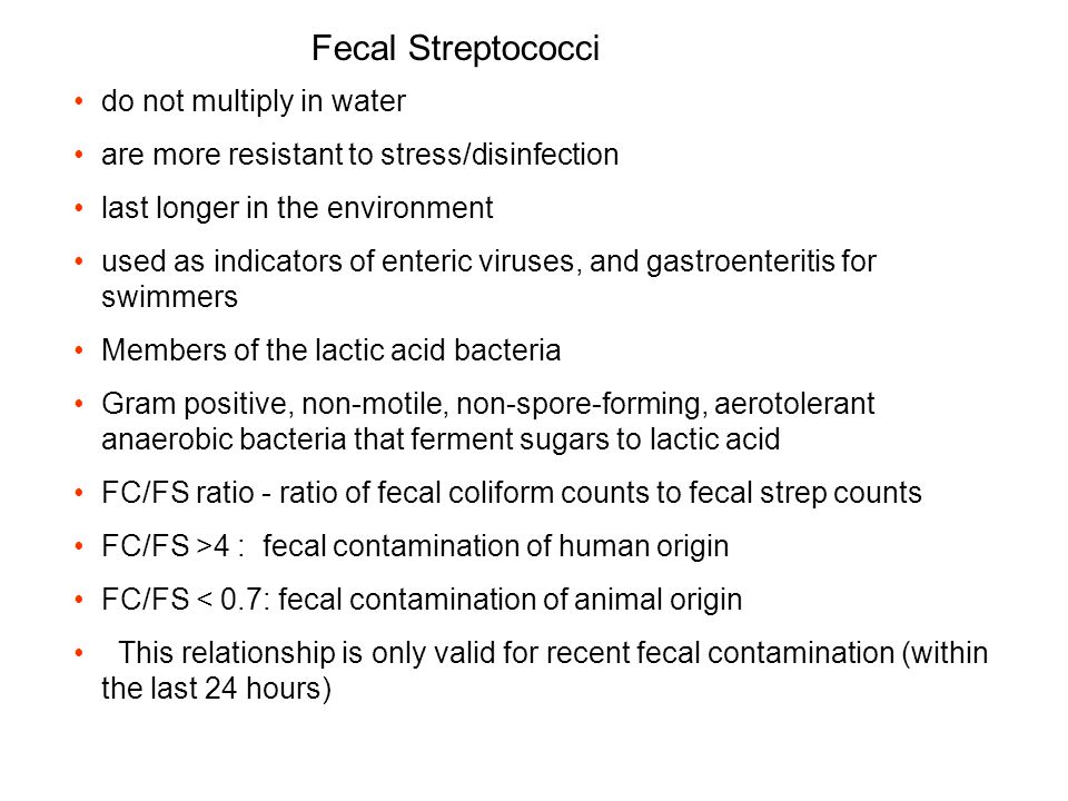 Fecal Streptococci do not multiply in water