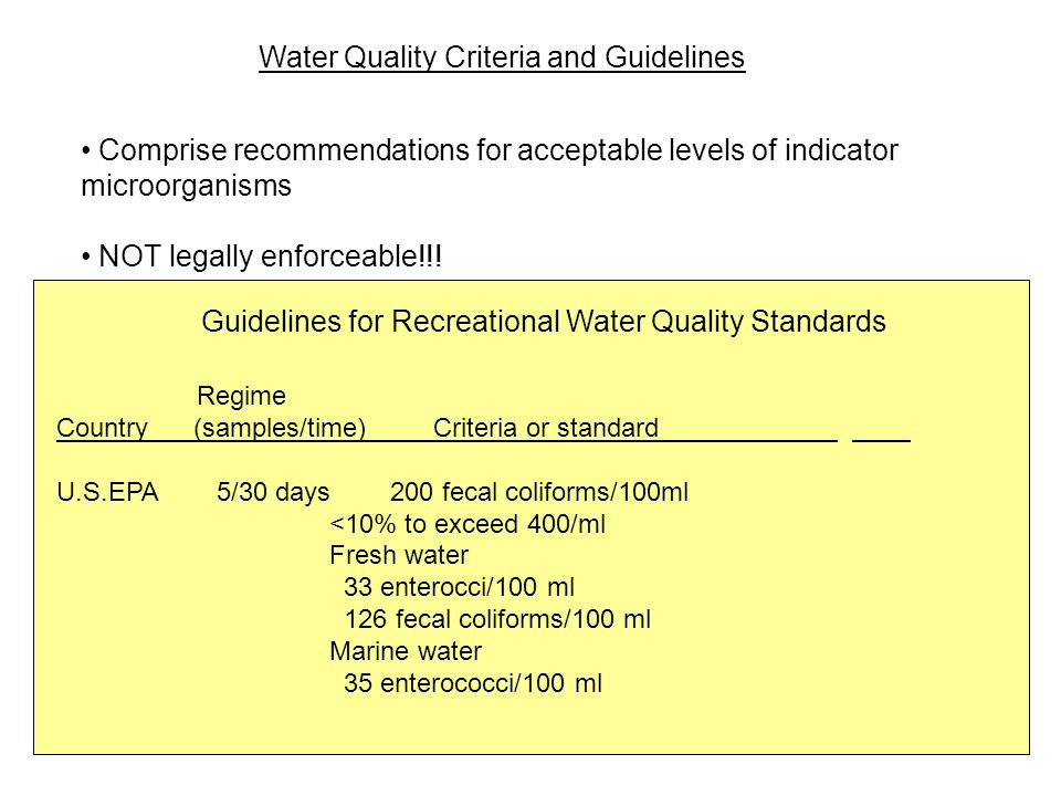 Guidelines for Recreational Water Quality Standards