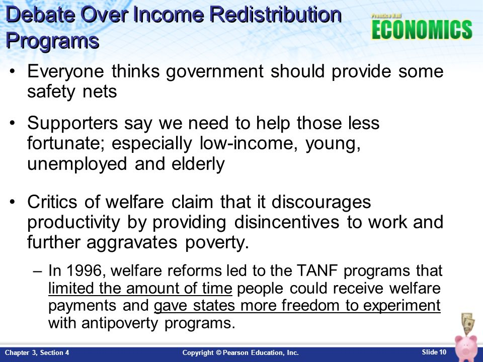 Debate Over Income Redistribution Programs