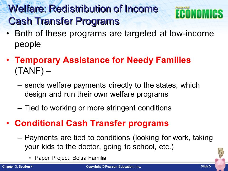 Welfare: Redistribution of Income Cash Transfer Programs