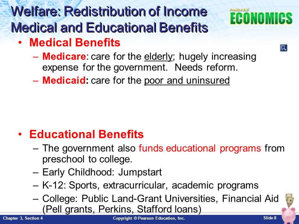 Welfare: Redistribution of Income Medical and Educational Benefits